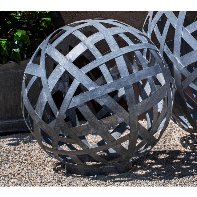 Contemporary Garden Globe, Zinc For Sale - Image 3 of 3