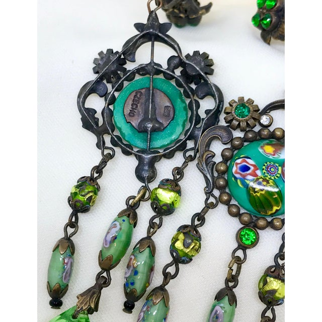 1940s Czech Glass Long Dangling Green Chandelier Earrings With Screw-Clip Back For Sale - Image 5 of 8