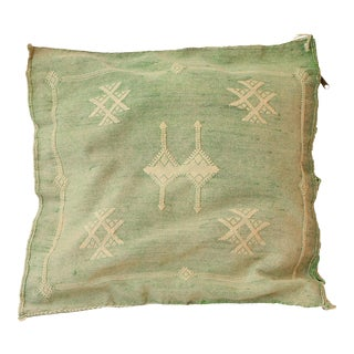 Green Cactus Silk Sabra Moroccan Pillow Cover For Sale