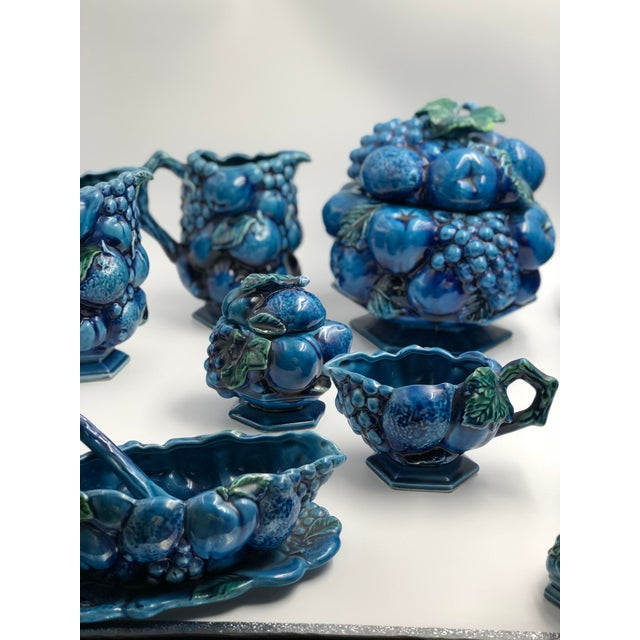 Glass Vintage Ceramic Fruit Topiary Serving Set, Mood Indigo by Inacaro For Sale - Image 7 of 12