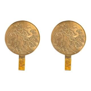 Japanese Bronze Round Landscape Plaques - a Pair For Sale