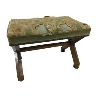 Charles X Walnut Stool With Original Tapestry For Sale