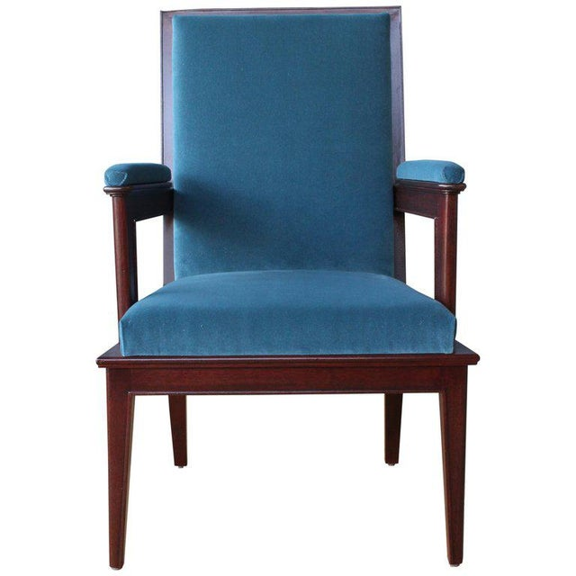Mahogany Armchair in Velvet, France, 1940s. Set of Four Available. For Sale - Image 12 of 12