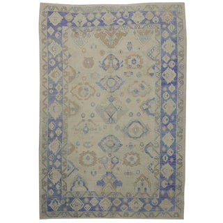 Modern Turkish Oushak Rug with Transitional Style in Majorelle Blue For Sale