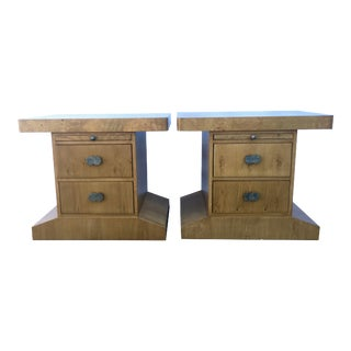 Mid-Century Modern Hickory White Burlwood and Oak Nightstands - a Pair For Sale