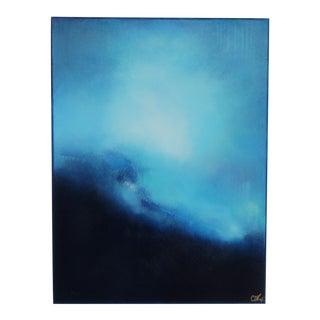 Blue Wonderment. Oil Pastel on Framed Canvas 2020 by C. Damien Fox For Sale