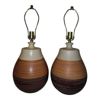 Mid-Century Brown Ceramic Lamps - A Pair