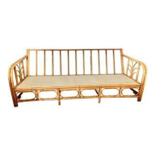 Vintage Mid-Century Bamboo Rattan Sofa For Sale