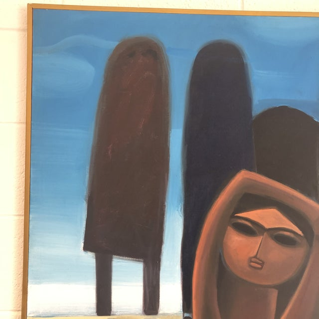 """Incredible original painting by famed Malaysian artist Khoo Sui Hoe titled """"Bathers' 6"""", circa 1970. Piece is unsigned but..."""