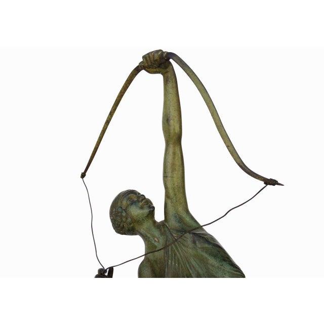 "Turquoise ""Tireuse A L'arc"" Bronze Greek Archer by Pierre Le Faguays For Sale - Image 8 of 10"