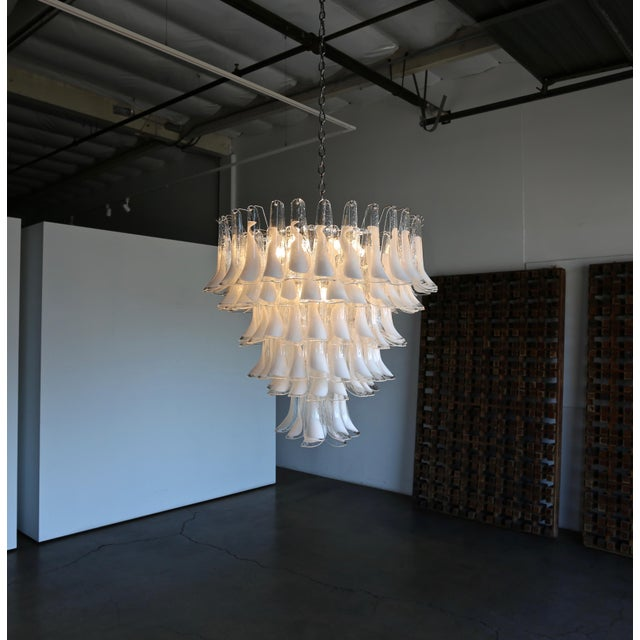 "Mazzega Large Scale Murano "" Selle "" Glass Chandelier Circa 1988 For Sale - Image 10 of 13"