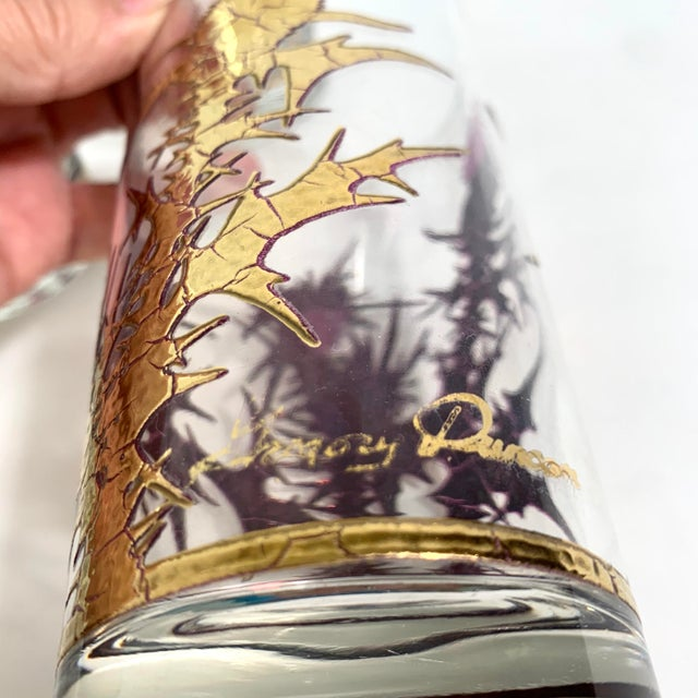 Mid-Century Modern Gregory Duncan Purple Gold Thistle Barware Ice Bucket & Highball Glasses - Set of 6 For Sale - Image 11 of 13