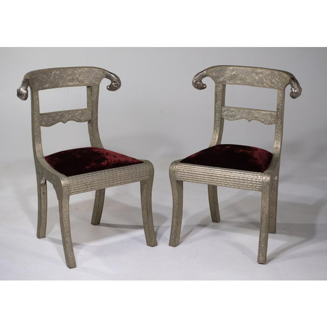 Glam Pair of Anglo Indian Regency Style Rams Head Side Chairs For Sale - Image 12 of 13
