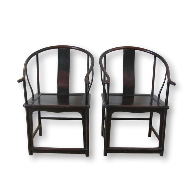 Asian Large Antique Chinese Horse Shoe Back Chairs - 2 For Sale - Image 3 of 10