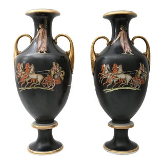 19th C. Neo-Classical Grand Tour Porcelain Vases - A Pair