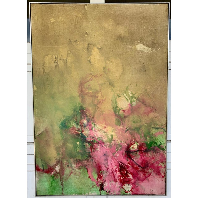 Green and Pink watermelon abstract painting with an aluminum frame. The Painting is from 60s and the frame is from 1971.