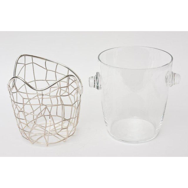 1970s Italian Pampaloni Sterling Silver & Glass Sculptural Ice/Champagne Bucket For Sale - Image 5 of 10
