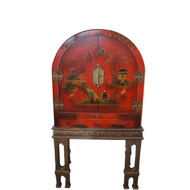 Asian 20th Century Chinese Red Lacquer Dry Bar Cabinet For Sale - Image 3 of 6