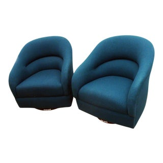 Mid-Century Brickel Associates Ward Bennett Swivel Club Chairs- a Pair For Sale