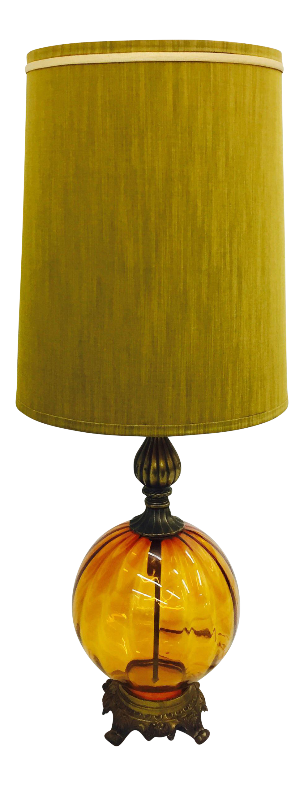 Vintage Mid Century Rococo Amber Glass Lamp