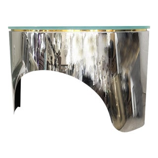 Pace Collection Mid-Century Modern Demi-Lune Sideboard in Metal & Glass For Sale