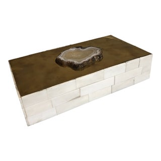 Tozai Home Genuine Agate Bone & Brass Covered Box For Sale