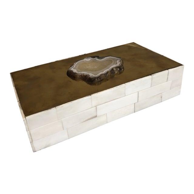Tozai Home Genuine Agate Bone & Brass Covered Box For Sale