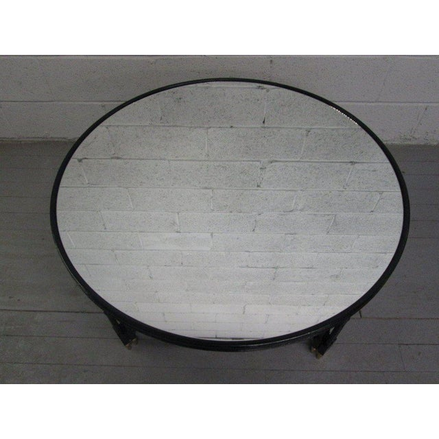 French Maison Jansen Style Mirrored Top Coffee Table For Sale - Image 3 of 6