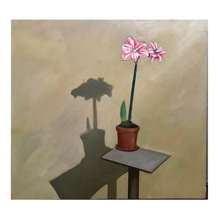 """1980s """"Amaryllis"""" Jimmy Lueders Large Oil on Canvas Painting For Sale"""