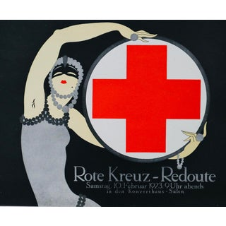 1923 Austrian Art Deco Poster, Rote Kreuz Redoute (Red Cross Ball) For Sale