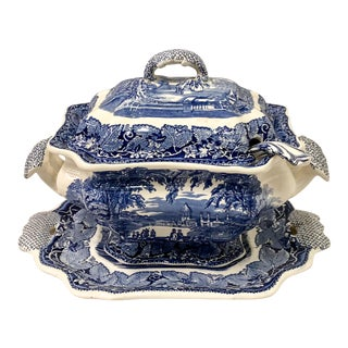 Antique English Blue & White Ironstone Tureen