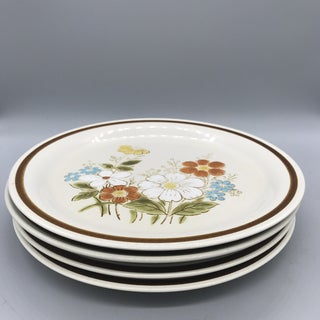 1970's Boho Chic Stoneware Mismatched Dinner Plate Set - 4 Pieces Preview