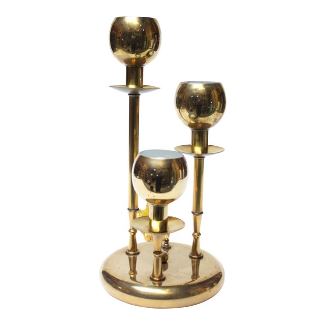 American Modern Brass Three-Fixture Table Lamp For Sale