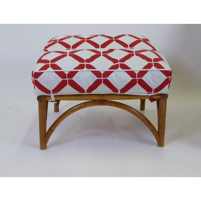 Red 1940s Tropical Modern Rattan Lounge Chair and Ottoman For Sale - Image 8 of 13