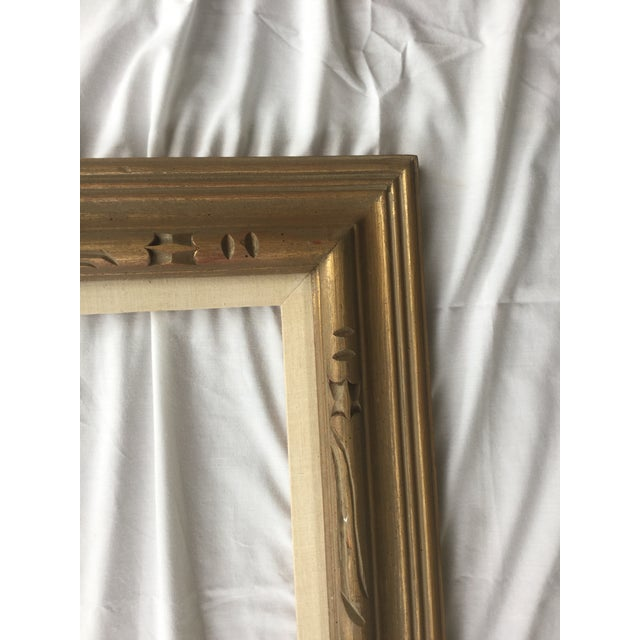 Large Mid-Century Gold Carved Gold Wood Frame - Image 8 of 11