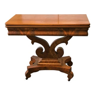 Antique Empire Era Burl Mahogany Swivel Top Game Table With Storage For Sale