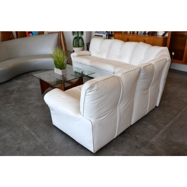 Nicoletti Salotti Italian White Leather 3 Pieces Sectional Sofa For Sale - Image 4 of 6