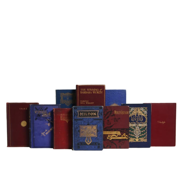Ornate Crimson & Sapphire Selections, S/13. Thirteen antique and early vintage books featuring a curated collection of...