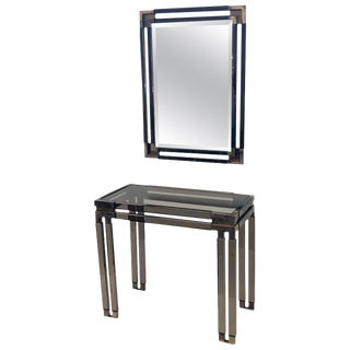 1970s Bronze Acrylic and Aged Brass Console and Mirror Set by Charles Hollis Jones For Sale