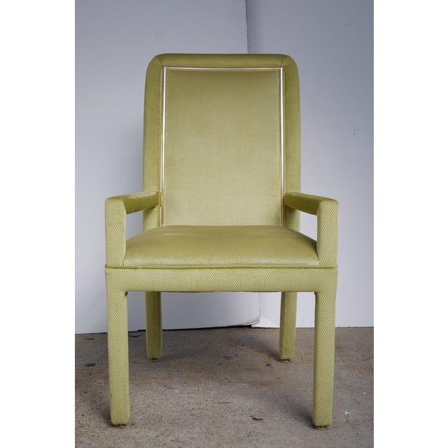 Velvet & Brass Detail Dining Chairs - Set of 8 - Image 5 of 9