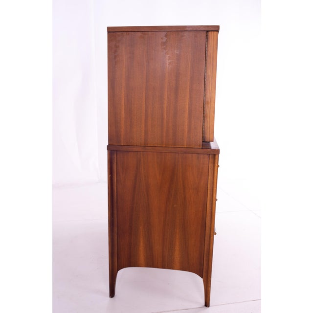 Mid Century Kent Coffey Perspecta Walnut and Rosewood Armoire Gentleman's Chest Highboy Dresser For Sale In Chicago - Image 6 of 13
