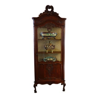19th Century French Carved Oak Vitrine Glass Display Cabinet For Sale