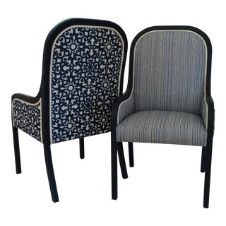 Blue and White Reupholstered Mid-Century Accent / Captain /Host /Hostess Chairs - a Pair