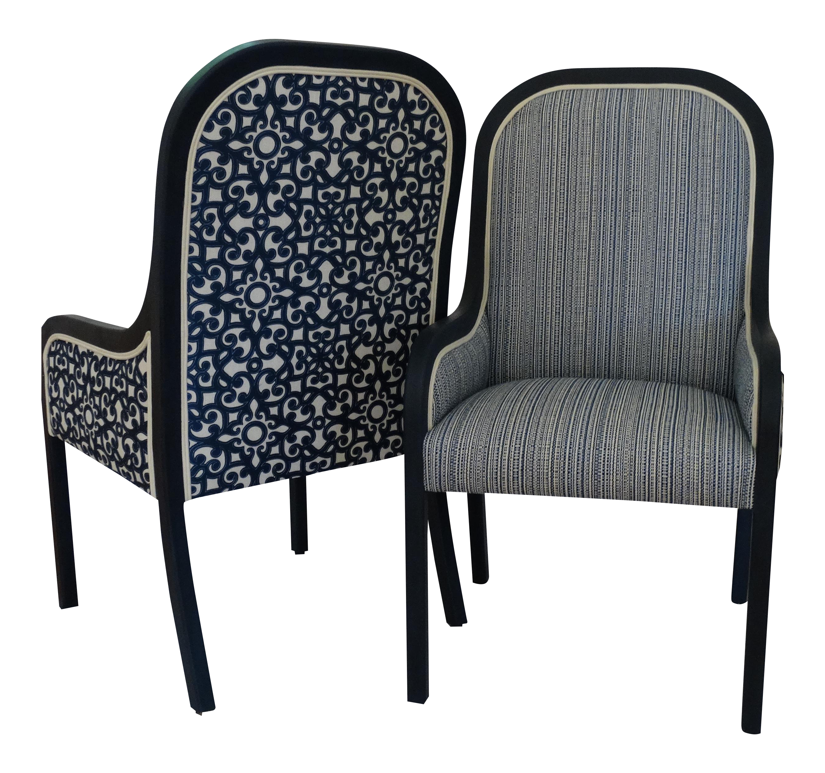 Blue And White Reupholstered Mid Century Accent / Captain /Host /Hostess  Chairs   A Pair