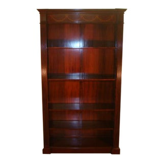Solid Mahogany Inlaid Book Shelf For Sale