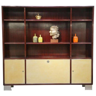 Paul Dupre-Lafon Mahogany and Parchment Bibliotheque For Sale