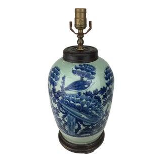19th Century Celadon Blue & White Bird Design Lamp For Sale