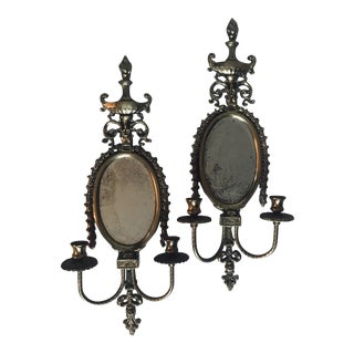1950s Mirrored Aged Brass Candlabras - a Pair For Sale