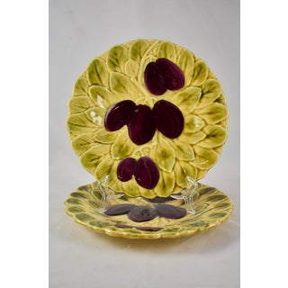Sarreguemines French Majolica Plum Fruit & Leaf Plate Preview