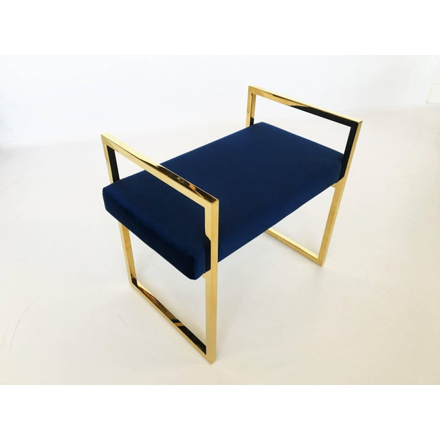 Charles Hollis Jones Pair of Polished Brass Benches in the Style of Charles Hollis Jones For Sale - Image 4 of 8